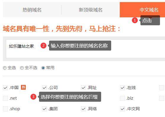 打开中文域名的注册网址