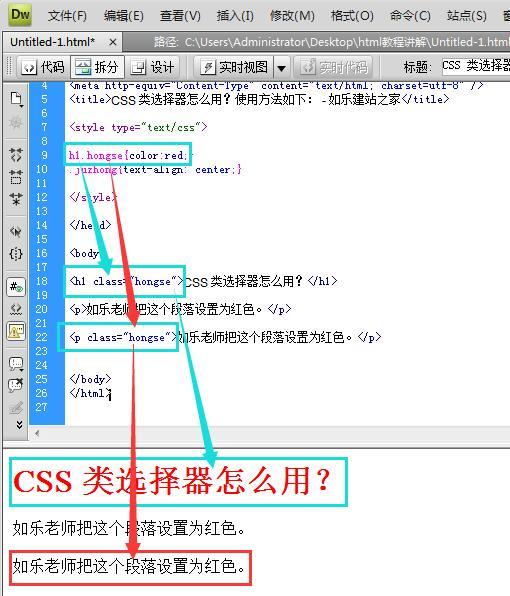 css类选择器指定元素效果图示